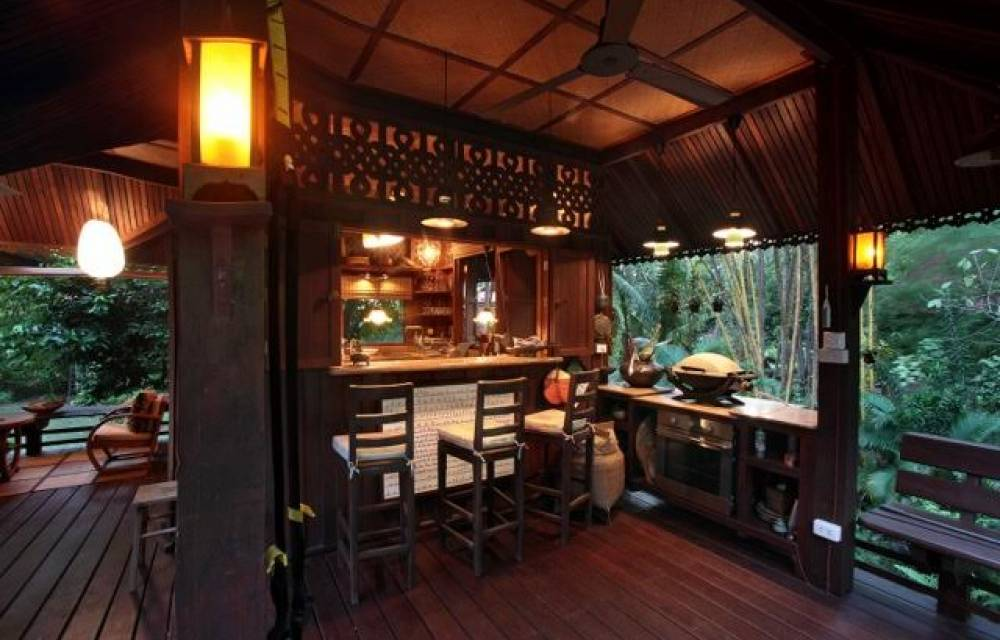 Bar, BBQ and outdoor entertainment area on the deck of the main house deck off the kitchen area